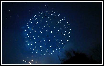 A blue exploding firework
