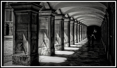 One of my very first photos taken as blind photographer. Taken with a Fugi F10 camera. I was visiting Hampton Court Palace and was struck by the contrast between the heat in the sunny parts and the cool in the the shadows when walking down this corridor. I wanted to reflect this in the patterns made by sunlight playing though the arches. I used black and white in this image to capture this feeling.
