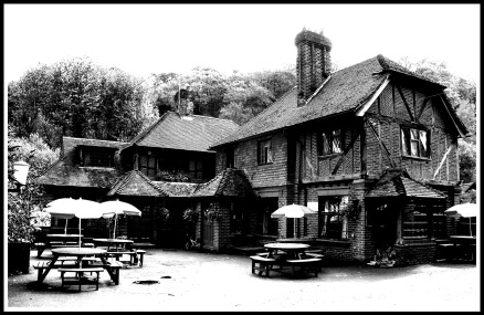 Black and white photo of the old pub on Friday Street