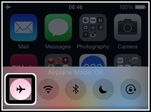 A screenshot of my iphone showing the Voiceover cursor surrounding the enabled airplane mode button on the control centre.