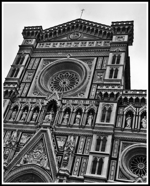 A black and white photo of the top of cathedral of Florence