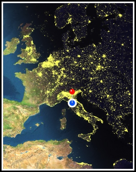 Map of Europe with a blue dot on Italy