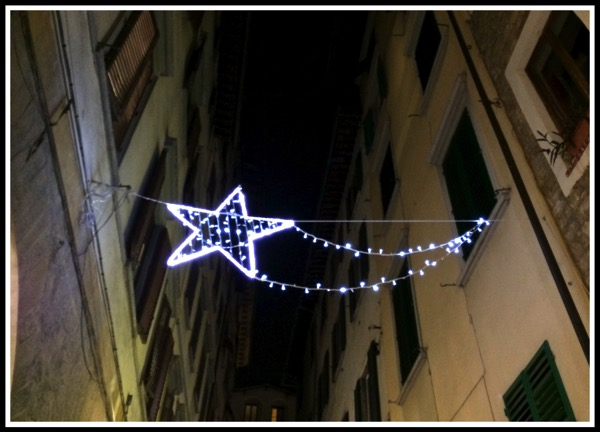 A twinckling star street decoration in Florence