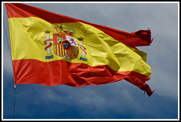 Spanish flag blowing in the wind
