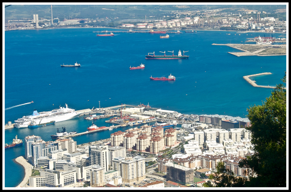 Looking down over the bay of Gibraltar with the Thomson Dream in the distance