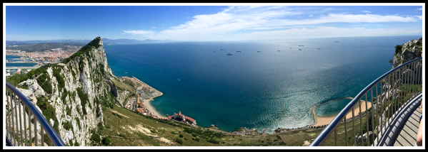 A panorama of Gibraltar rock