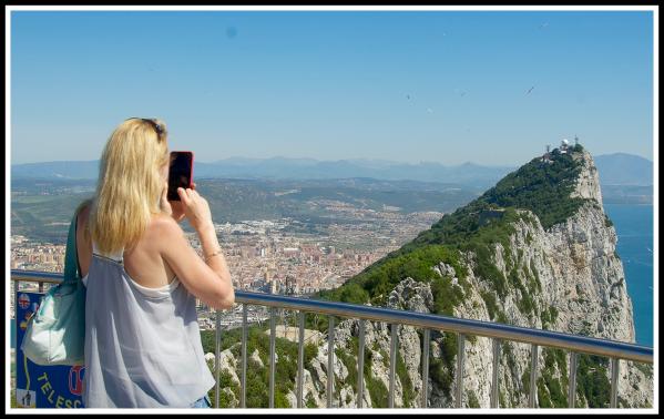 Photo of Sarah taking a Panorama of Gibraltar rock