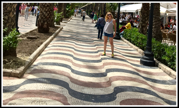 Sarah on the Alicante palm tree art path