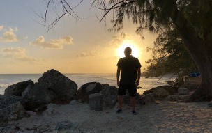 Me enjoying the beautiful sunset on Dover beach, Barbados, April 2018