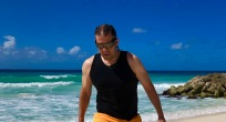 Me walking along a quiet Dover beach, Barbados April 2018