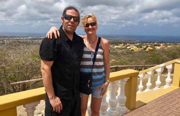 Sarah & i overlooking the island of Bonaire