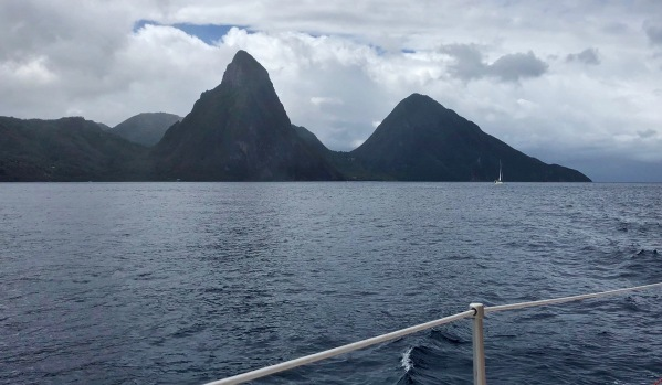 The Pitons of Saint Lucia from our Catamaran