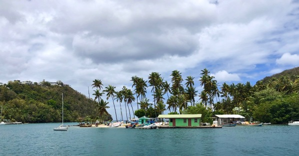 View of a posh resort in Saint Lucia from the Catamaran
